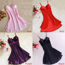 Women Silk Sleeveless Nightdress Lace Sleep Dress V-neck Nighties Sleepwear PR