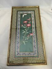 Flowers and Butterfly Framed Asian Art Silk Tapestry Red Flowers Gold Frame