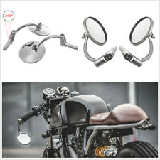 2 x Motorcycle Off Road Handlebar Round Stainless Steel Mirrors Adjustable Angle