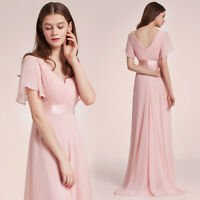 Ever-Pretty Chiffon Bridesmaid Dress Long Formal Prom Party Dresses Pink 09890