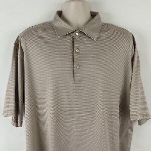 Peter Millar Men's XL Light Brown & White Striped Polo Golf Shirt, Cotton