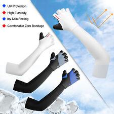 Half Finger Gel MTB Bike Cycling Gloves + UV Protection Cooling Arm Sleeves