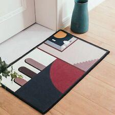 Geometric Patterned Floor Mat with Desert City Design Warm Colors Floor Mat