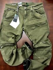 G-Star Raw 5620 3D Skinny Zip Knee Army Shamrock Deni Tapered Jean W30 L32 $299
