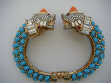 Kenneth Jay Cabochon Pave Rhinestones Animal Head Cuff Bracelet Turquoise Coral