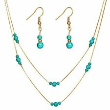 Elegant Turquoise and Gold Jewelry SET Dangle Earrings Multi Strand Necklace NEW