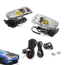 For 92-95 Honda Civic 2/3Dr JDM Yellow Bumper Fog Light + Switch Driving Lamps