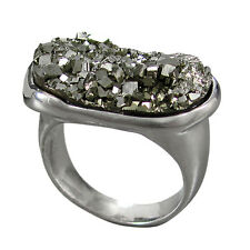 Schmuck-Michel Damen Ring rhodiniertes Silber 925 Pyrit Gr. 56 - Unikat (R36)