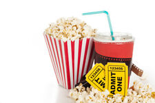 Qty: 2 AMC Theaters Black MOVIE TICKETS, 1 Large POPCORN & 2 Large DRINKS