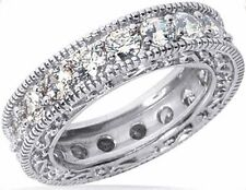 2.74 ct Round Diamond Ring 14k Eternity Band Antique Style Deco 0.15 ct each