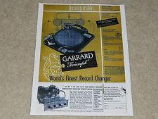 Garrard Triumph 1955 Turntable Ad, Leak TL/10 Tube Amp, Details, 1 page