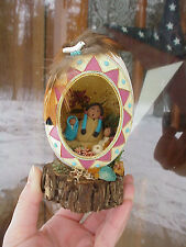 REAL Hand Decorated Carved Goose Egg Decoration Fimo Clay Miniature Headdress