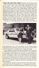 1968 CAMARO LUBY CHEVROLET / BETTY WAGHELSTEIN / DRAG RACING ~ SMALLER ARTICLE