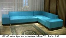 4 PC Modern contemporary Blue Leather Sectional Sofa w/ Detachable Arms #1016