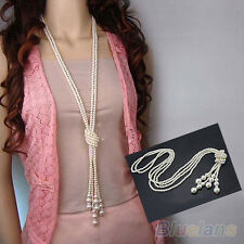 FT- Fashion White Artificial Pearls Long Sweater Chain Charms Necklace BE8A