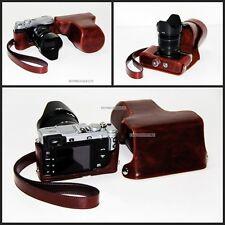coffee dark brown Leather camera Case bag strap- FUJI Fujifilm X-E2 XE2 X-E1 XE1