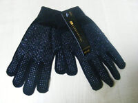 MENS BLACK THERMAL STRETCH GLOVES WITH RUBBER PALM GRIP