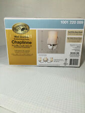 Hampton Bay Chaplinne 1-Light Satin Nickel Sconce w/Frosted White Shade