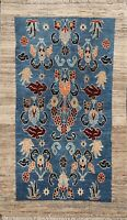 Vintage Geometric Blue Gabbeh Hand-knotted Area Rug Wool Oriental Carpet 3x5 ft