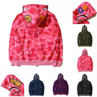 Ape BAPE Men's Shark Jaw Camo Full Zipper Hoodie Sweats Coat Jacket Popular