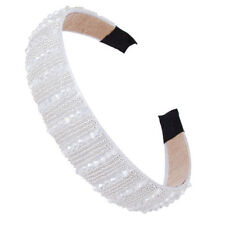 White Girls Women's Crystal Wide Hairband Headband Head Piece Hair Band