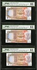 10x India 50 Rupees 1978 Solid Serial Numbers 111111-999999 Gem Uncirculated PMG