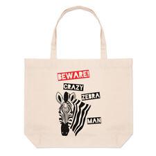 Beware Crazy Zebra MAN GRANDE BORSA CON MANICO da Spiaggia - Divertente SHOPPER