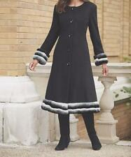 Women's Outerwear Winter Black Fur trim long jacket Victoria Coat size XL1X $280