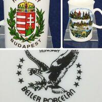 "hungary budapest coffee mug cup beiler porcelain historic landmarks 4.25"" x 3"""
