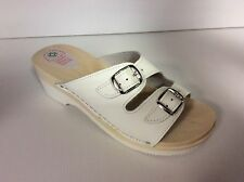 Women's Shoes Slippers Hoof 330 White Bands Adjustable Wood Made IN Italy