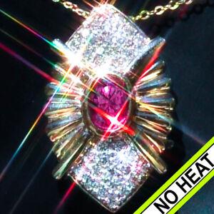 Ruby Necklace 14K Gold NO HEAT Ruby Diamond Vintage Antique ESTATE RUBY Pendant