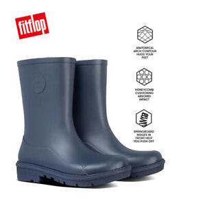 FitFlop WONDERWELLY SHORT Ladies Rubber Wellington Boots Navy UK Sizes 4 - 8