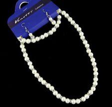 Ladies White Pearl Beaded Bracelet Necklace Earring Set