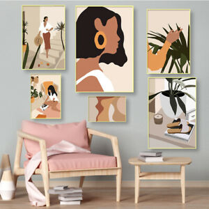 Fashion Vintage Girl Wall Art Canvas Painting PosterS Prints Wall Pictures Decor