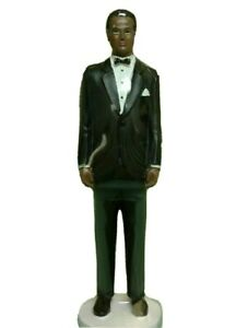 Wedding Cake Topper Classic African American Groom Black Suit Figure Decoration