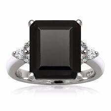 Black Onyx & White Topaz Sterling Silver Ring Size 7