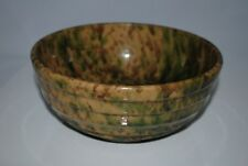 Morton Pottery Spatterware Mixing Nesting Bowl Woodland Yellow Glaze Ridged