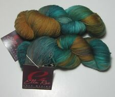 LOT of 2 JADE GOLD AQUA Ella Rae LACE MERINO superwash fingering yarn #150