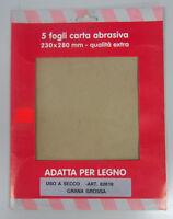Oreca carta abrasiva x legno 5 fogli 230x280 mm grana grossa 82618 uso a secco