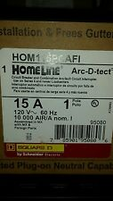 (10) Square D Homeline 15amp combination arc fault breakers with plug on neutral