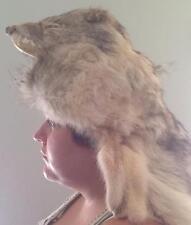 Native American Headdress Coyote Warbonnet Mountain Man Pow Wow Regalia, Signed