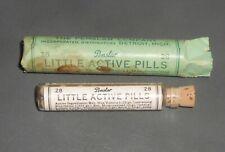 c1925 Antique Medicine Bottle Penslar Little Active Pills in package w/ contents