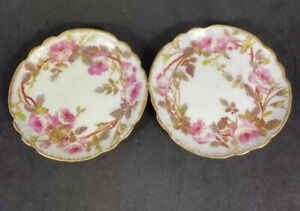 Antique Demartine Limoges Butter Pat Pair with HP pink Roses Gold Rim