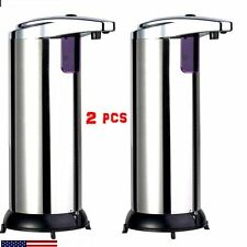 2X Stainless Steel Handsfree Automatic IR Sensor Touchless Soap Liquid Dispenser