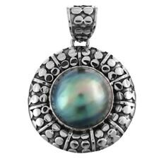 """1 7/16"""" GENUINE BLUE MABE PEARL 925 STERLING SILVER pendant"""
