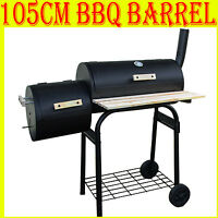 LARGE OIL DRUM BARREL STYLE BBQ SMOKER CART BARBEQUE FOOD SMOKING COOKING BBQ