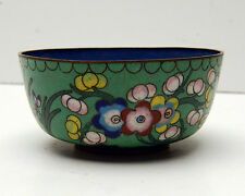 Vintage Cloisonne Bowl Green with Floral pattern