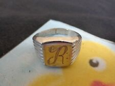 Mens Ring MONOGRAM R Nickel Plated Silver Size 12.5