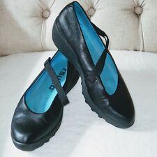 Tsubo Cori Black Leather Mary Jane Wedge Pumps Women's US 6 / EUR 36