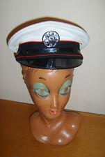 UFFICIALE DI PVC BIANCO & Gentiluomo Navy Naval Cappello Distintivo Costume Uniforme Costume M